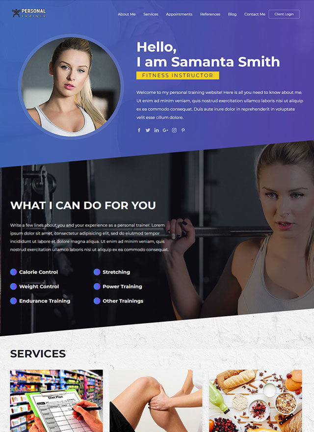 VEVS Personal Trainer Website