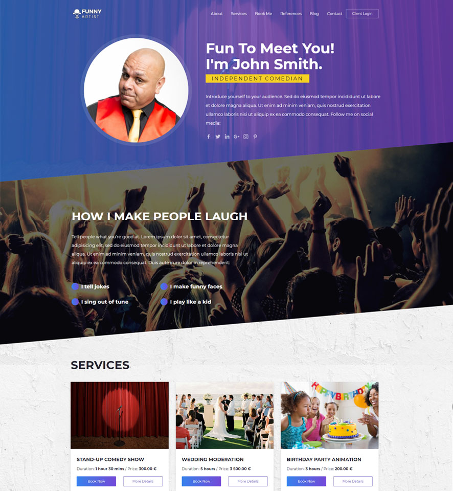 Entertainer Website Design by VEVS 2