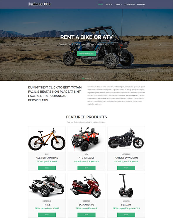 Bike & ATV Rental Website Template #1