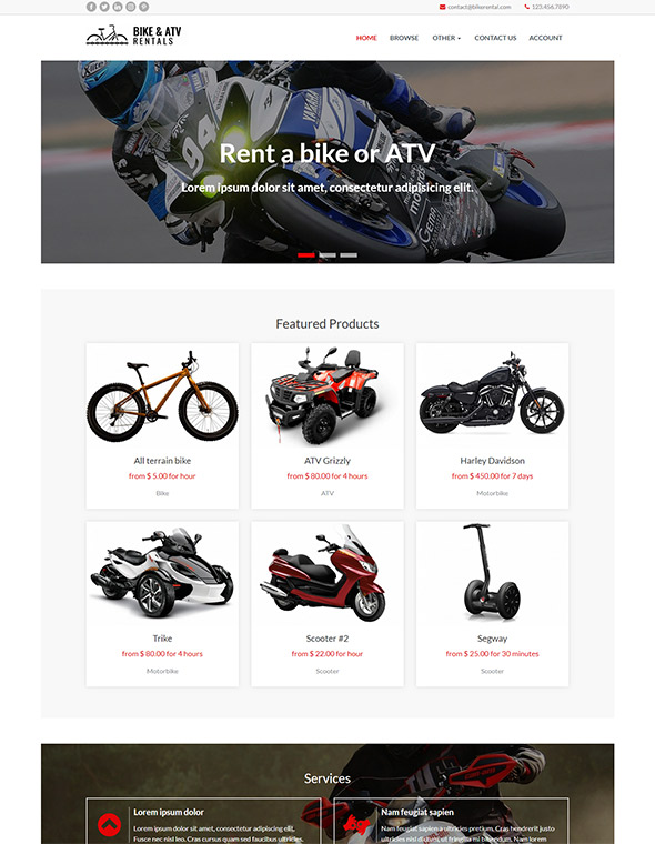 Bike & ATV Rental Website Template #10