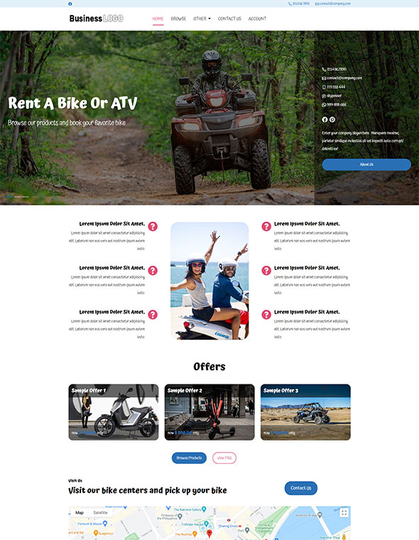 Bike & ATV Rental Website Template #2