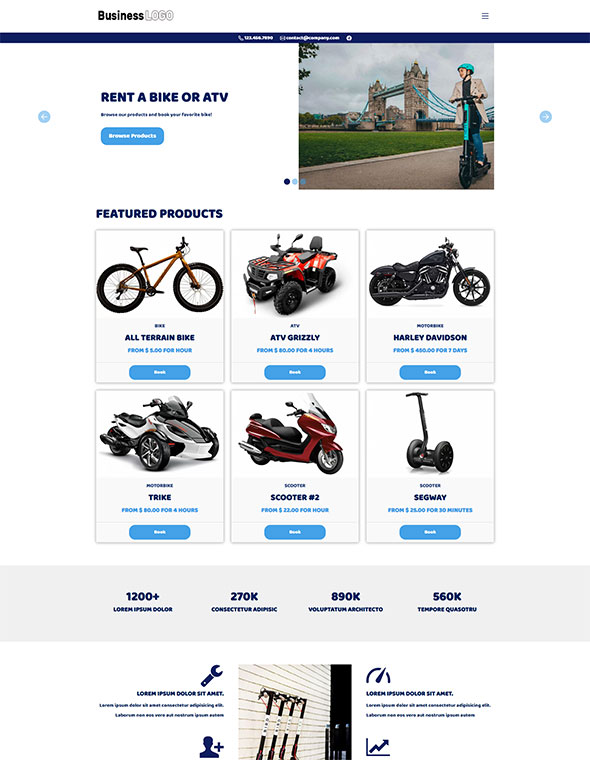 Bike & ATV Rental Website Template #4