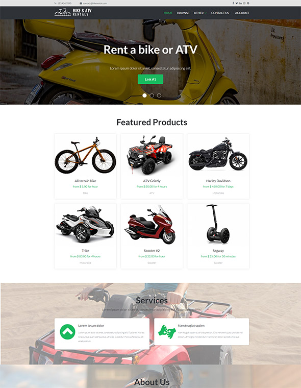 Bike & ATV Rental Website Template #6