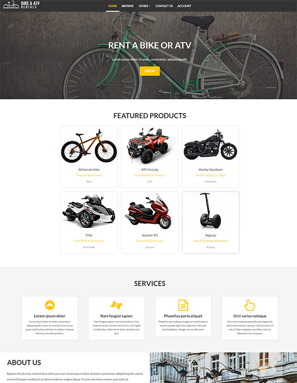Bike & ATV Rental Website Template #7