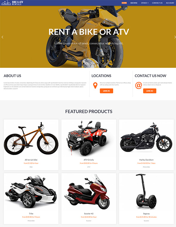 Bike & ATV Rental Website Template #8