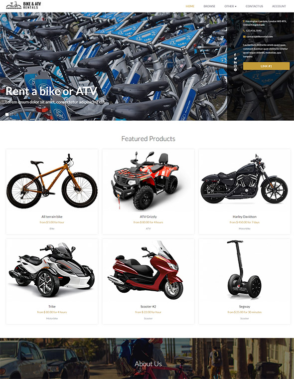 Bike & ATV Rental Website Template #9