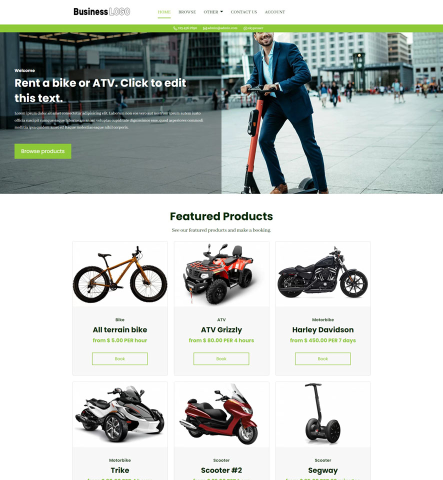 Bike & ATV Rental Website Design 1