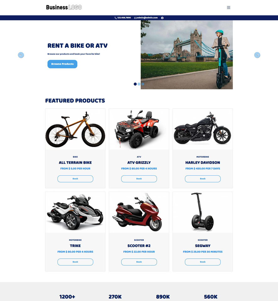 Bike & ATV Rental Website Design 2