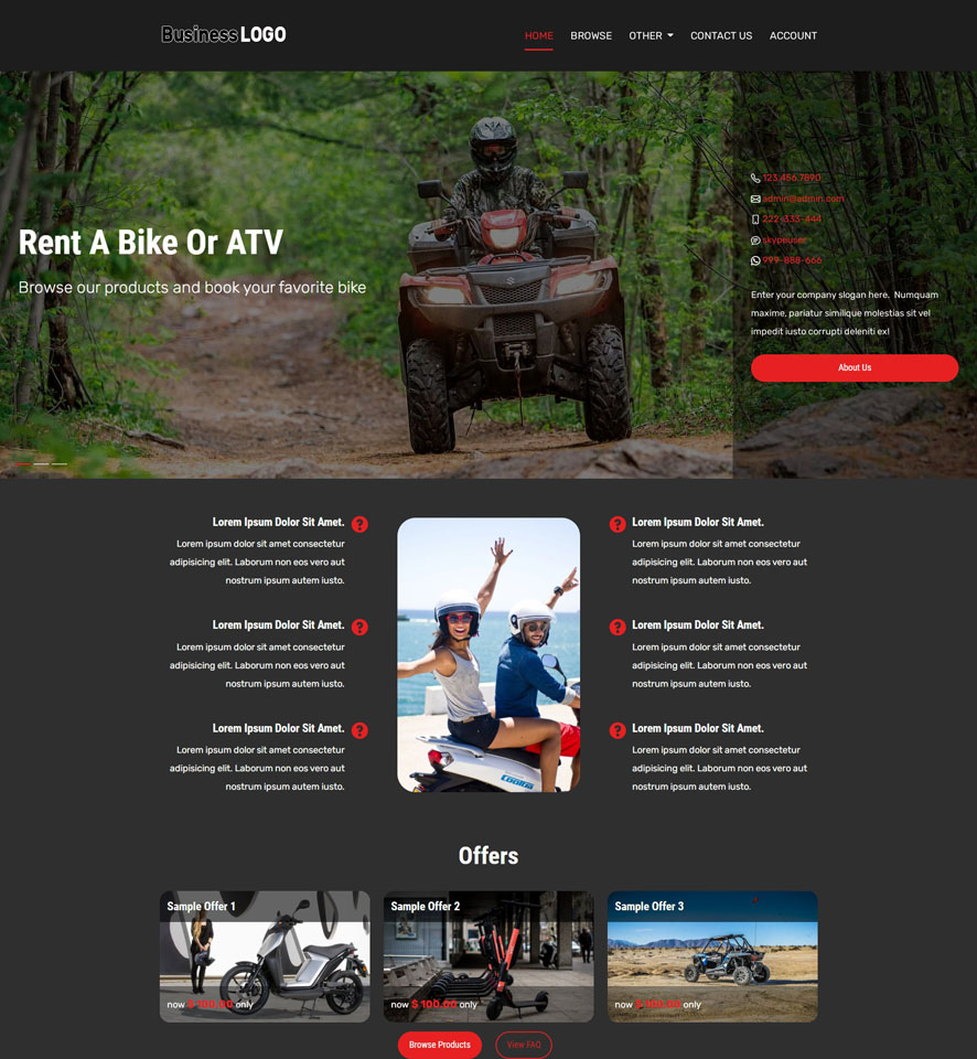 Bike & ATV Rental Website Design 3