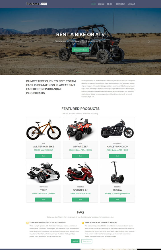 Bike & ATV Rental Website 1