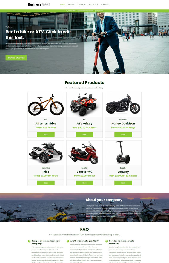 Bike & ATV Rental Website 2