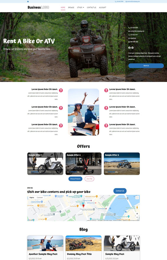 Bike & ATV Rental Website 3