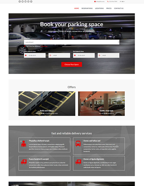 Car Parking Website Template #10