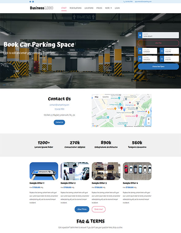 Car Parking Website Template #2