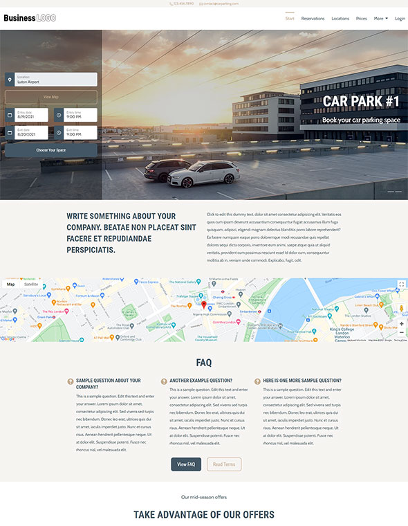 Car Parking Website Template #3