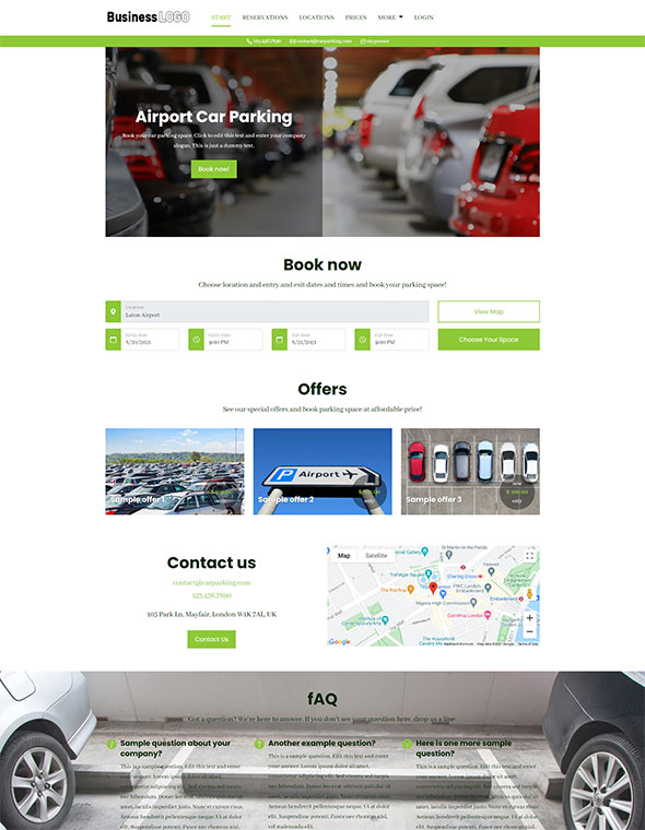 Car Parking Website Template #4