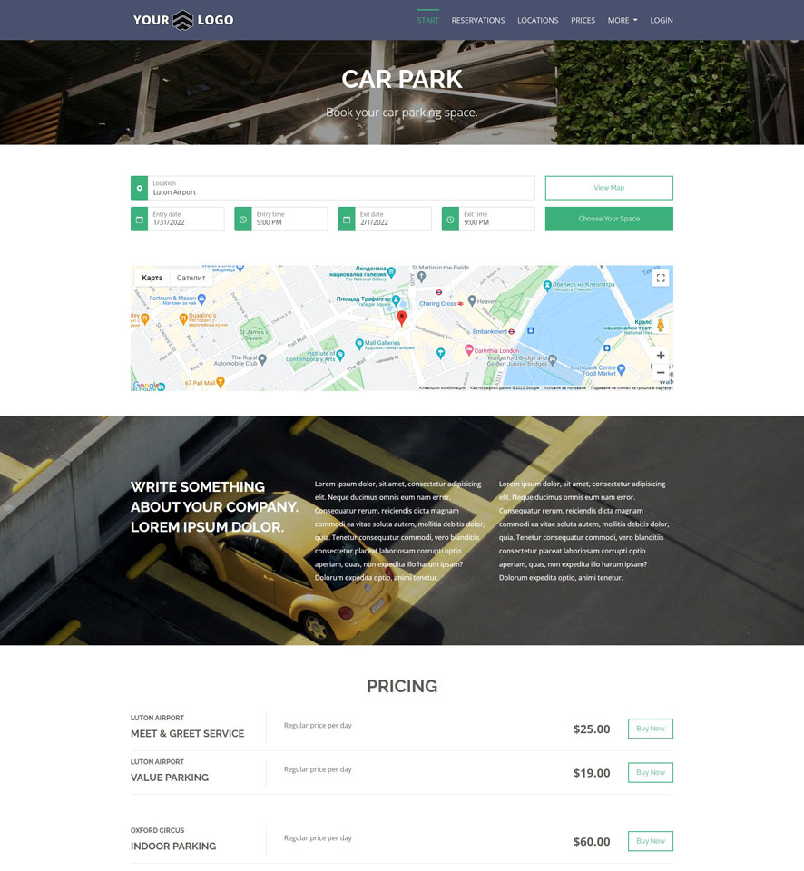 Car Parking Website Design 2
