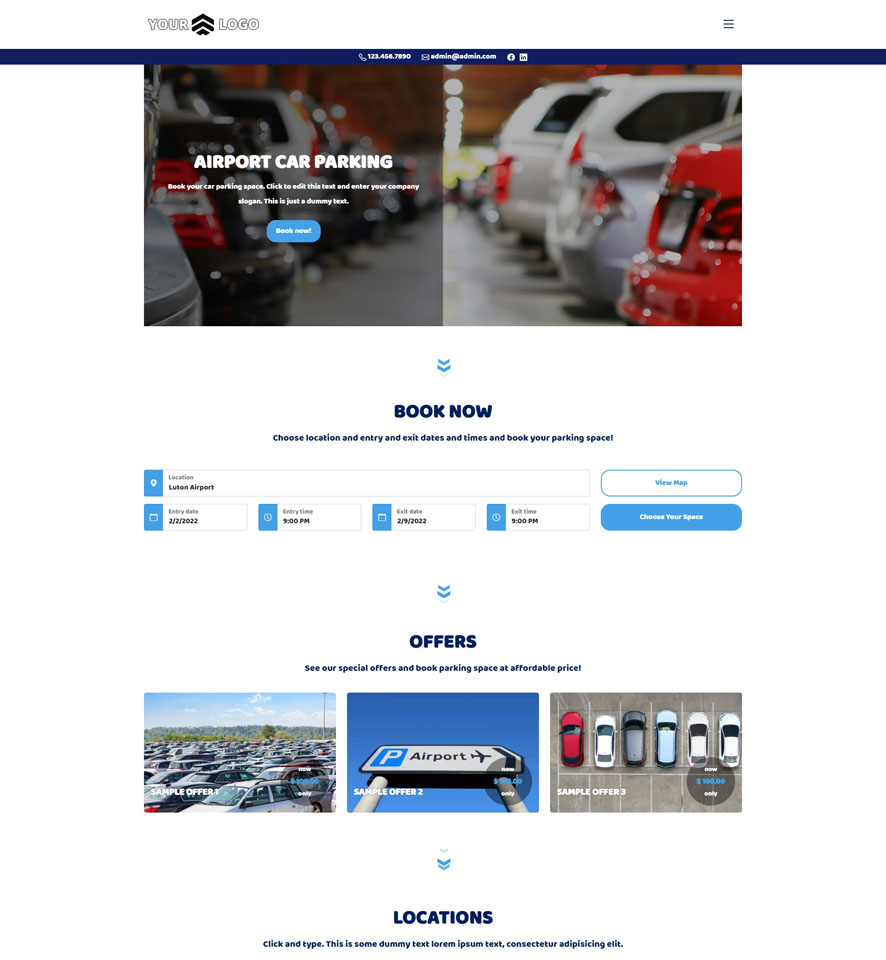 Car Parking Website Design 3