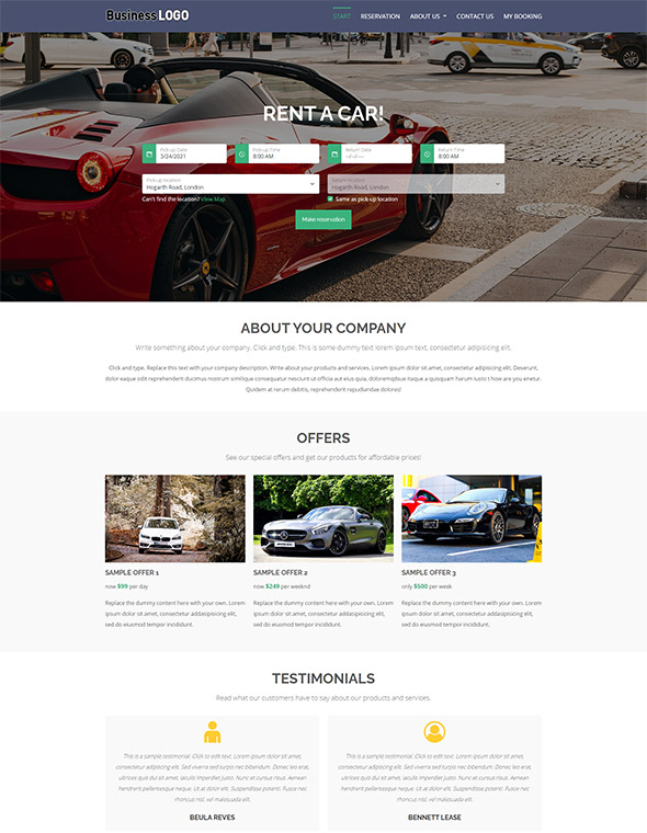 Car Rental Website Template #1