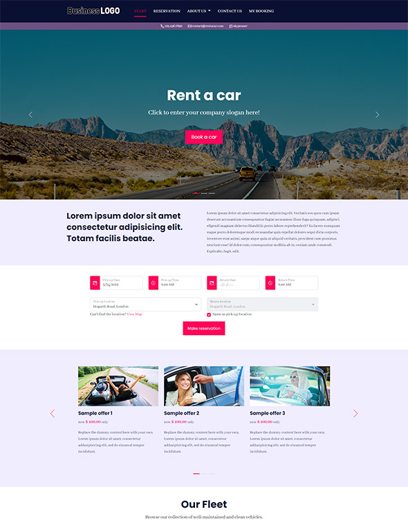 Car Rental Website Template #10