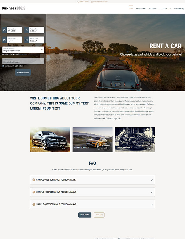Car Rental Website Template #3