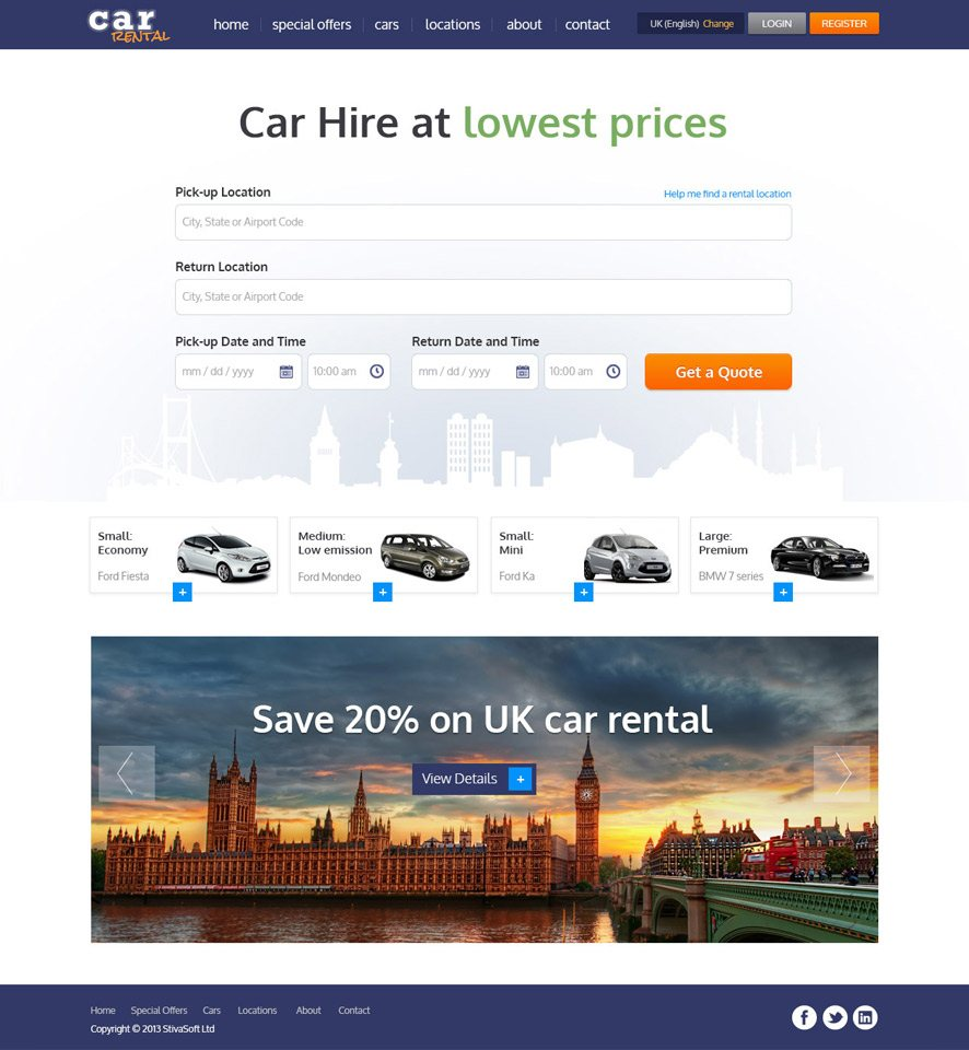 Car Rental Website Custom Template #1