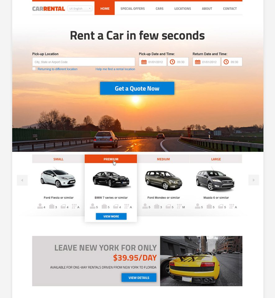 Car Rental Website Custom Template #3