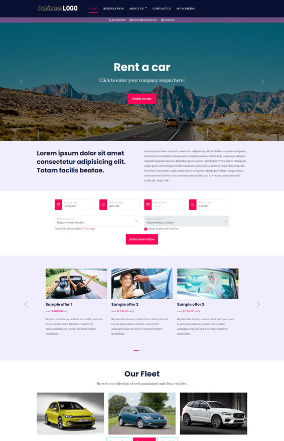 Vevs Car Rental Websites Website Builder