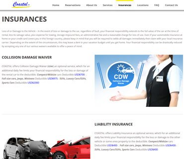 VEVS Car Rental Site - Insurance Page