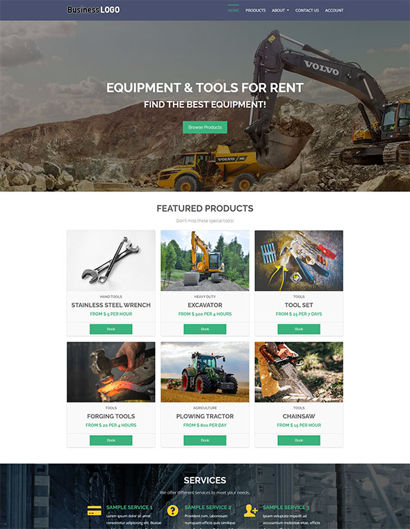 Equipment Rental Website Template #1