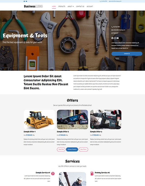 Equipment Rental Website Template #2