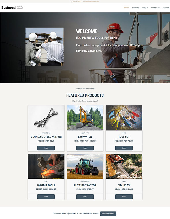 Equipment Rental Website Template #3