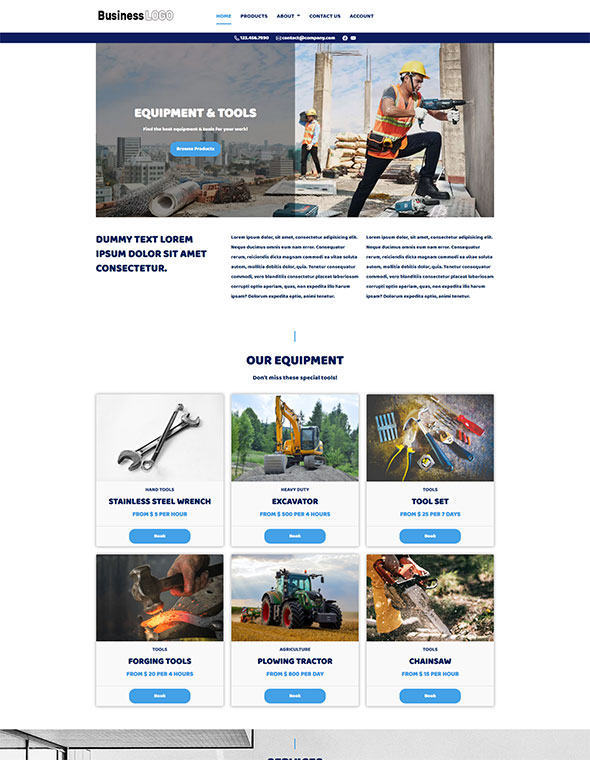 Equipment Rental Website Template #4