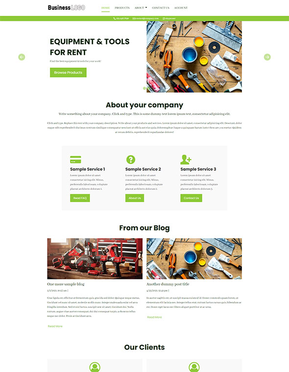 Equipment Rental Website Template #5