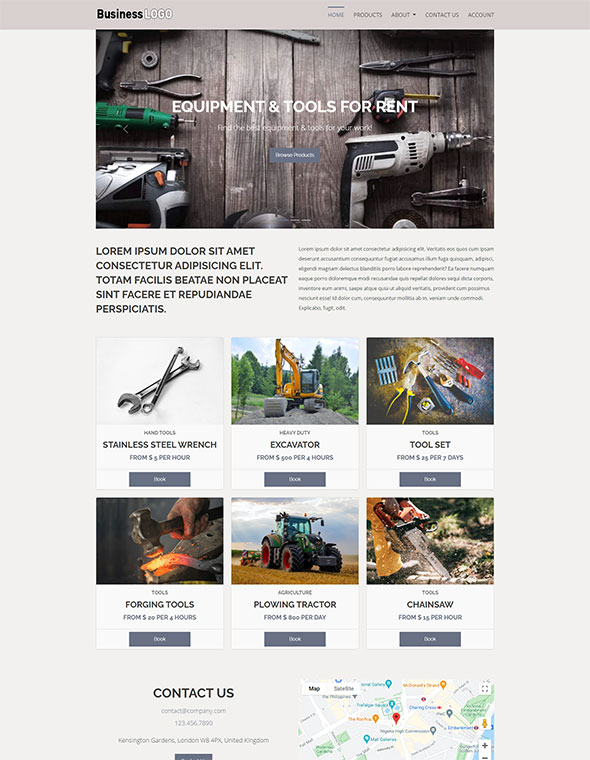 Equipment Rental Website Template #6