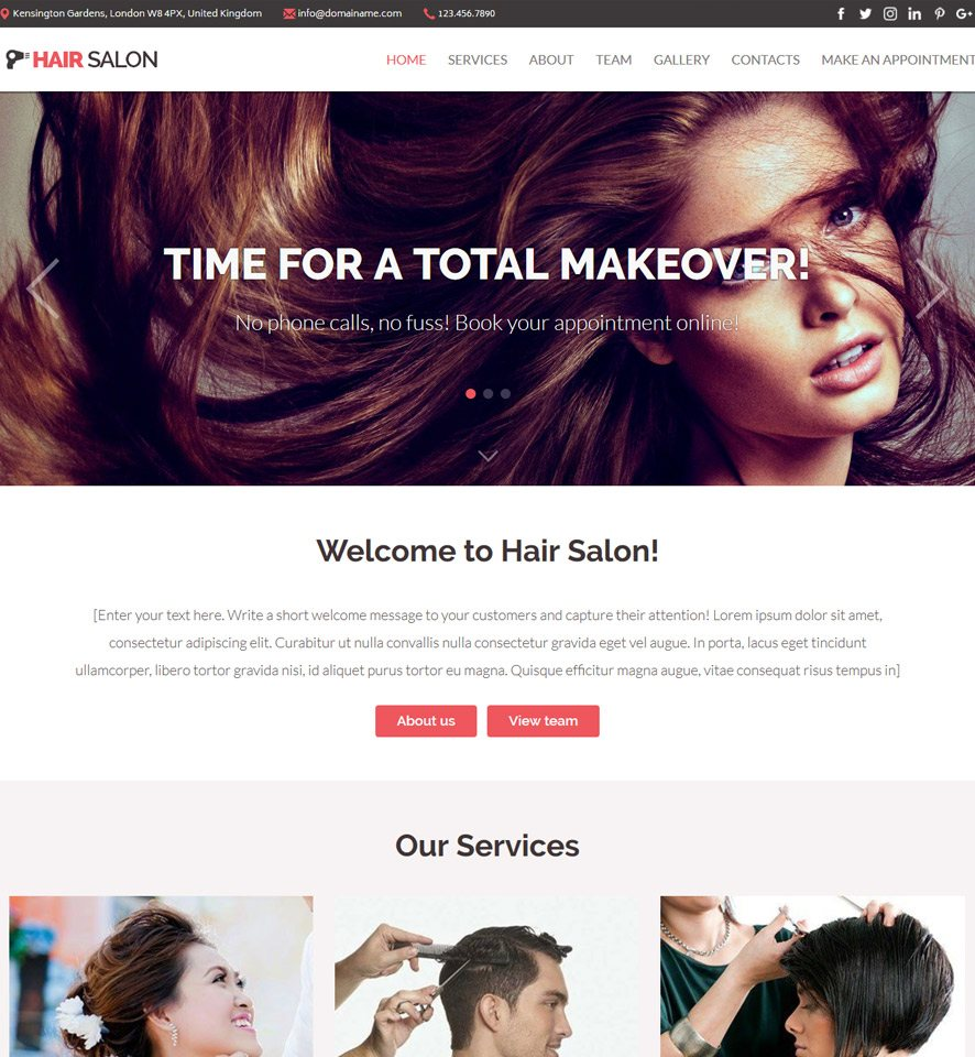 Vevs hair beauty salon websites demo hair beauty salon website template 1 urmus Images