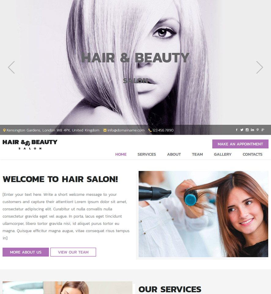 Vevs hair beauty salon websites demo hair beauty salon website template 3 urmus Images