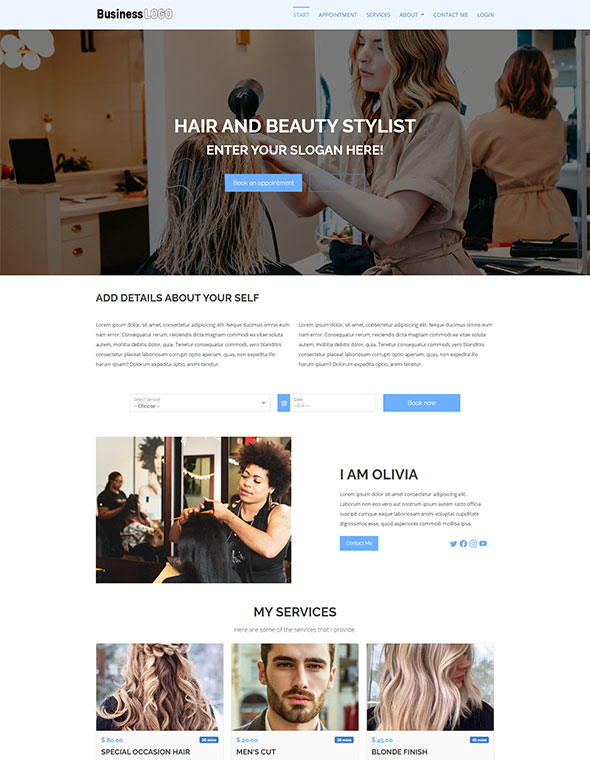 Hair Beauty Stylist Website Template 1