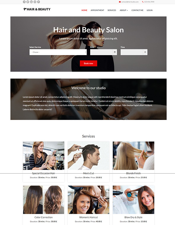 Hair & Beauty Stylist Website Template #10
