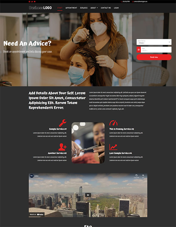 Hair & Beauty Stylist Website Template #2
