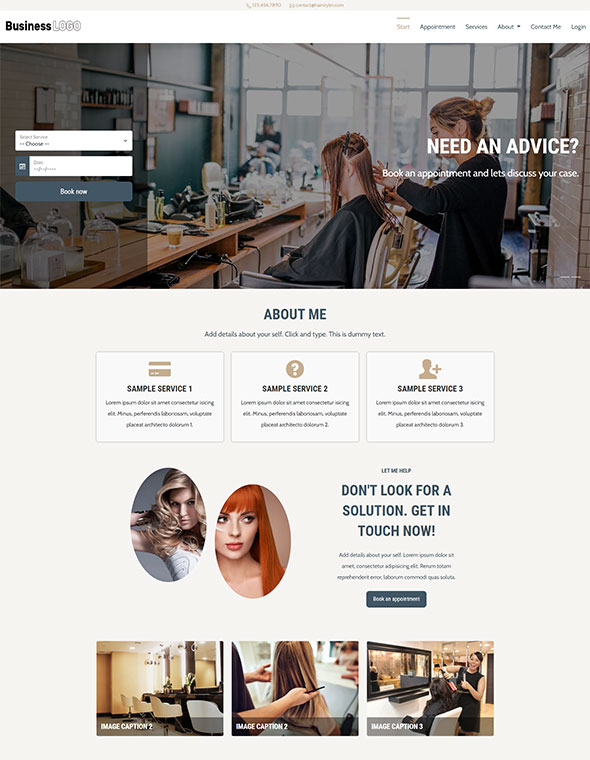 Hair & Beauty Stylist Website Template #3