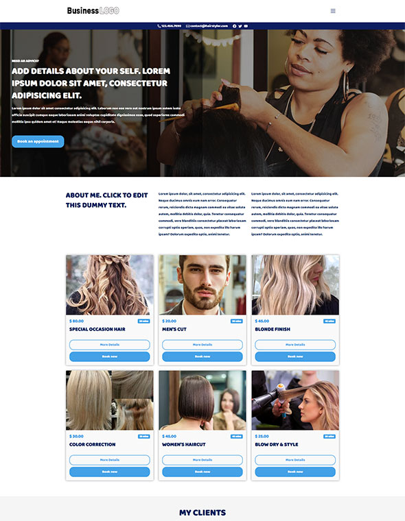Hair & Beauty Stylist Website Template #4
