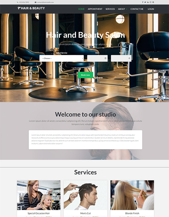Hair & Beauty Stylist Website Template #6