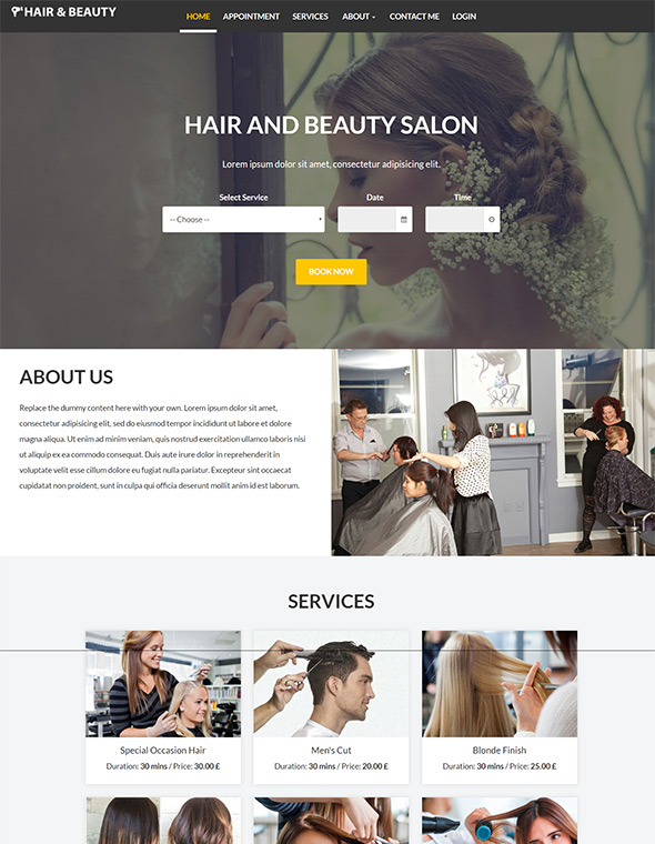 Hair & Beauty Stylist Website Template #7