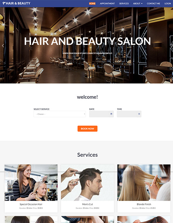 Hair & Beauty Stylist Website Template #8