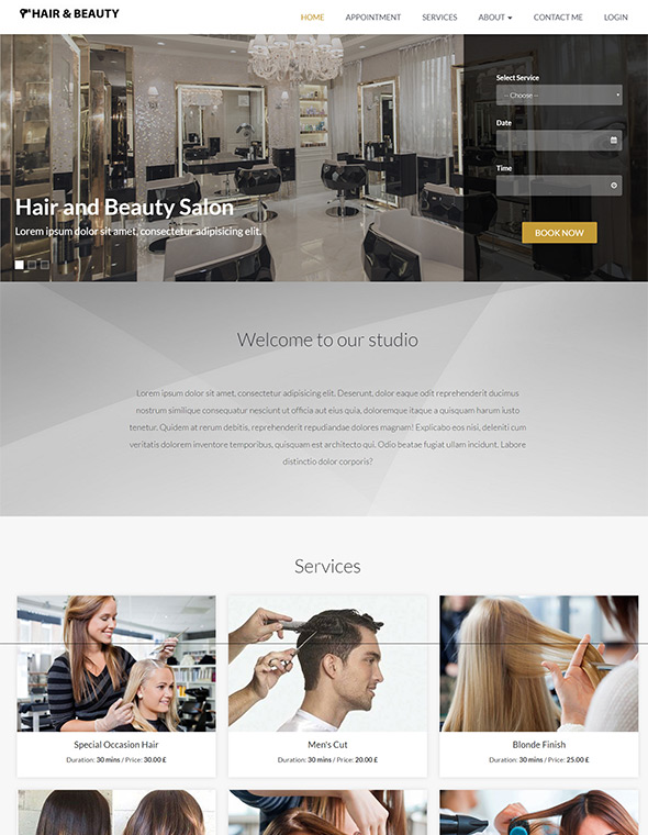 Hair & Beauty Stylist Website Template #9