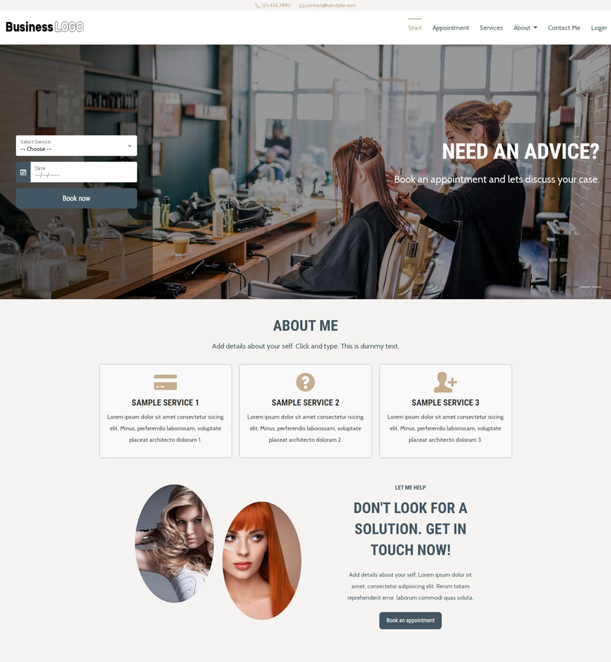Hair and Beauty Stylist Website Design 1
