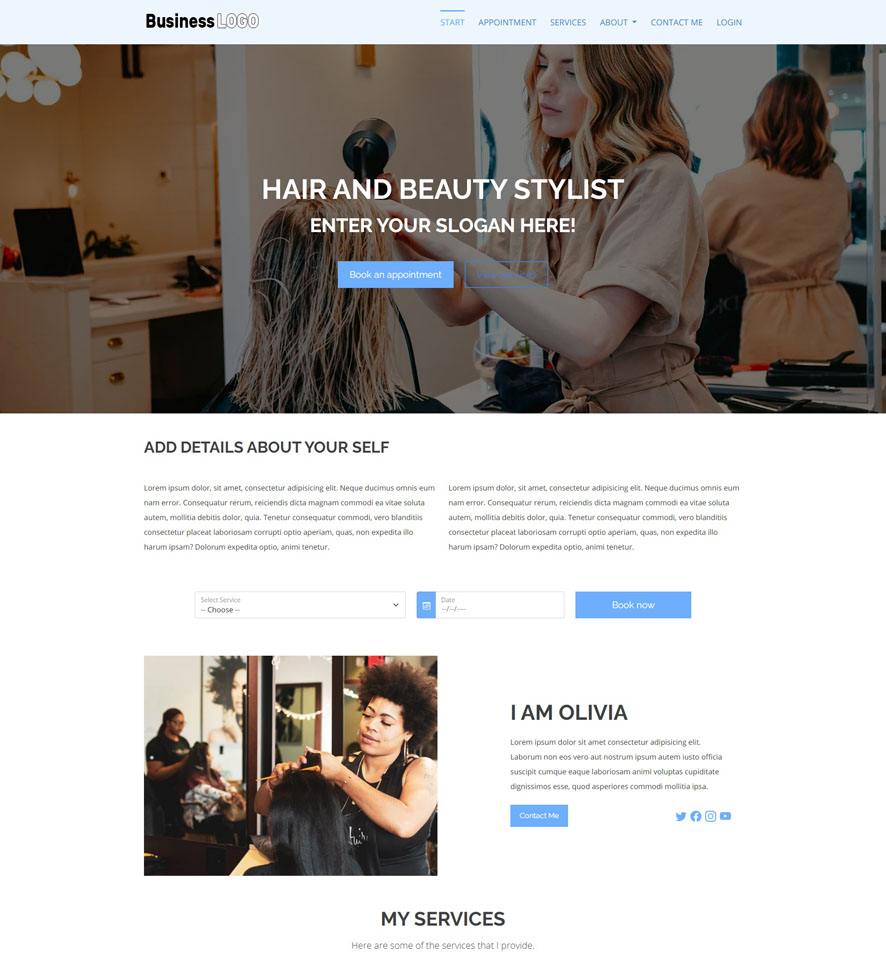 Hair and Beauty Stylist Website Design 2