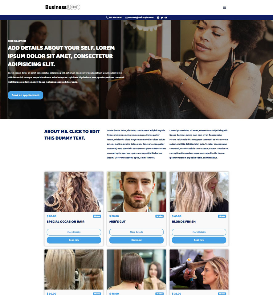 Hair and Beauty Stylist Website Design 3