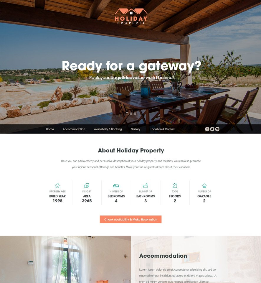 Holiday Property Website Custom Template #1